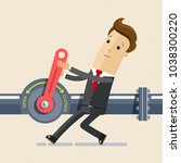 businessman close red crane and ...   Shutterstock .eps vector #1038300220