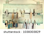 wooden stylish key hanger.... | Shutterstock . vector #1038303829