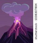 erupting volcano. vector flat...   Shutterstock .eps vector #1038307804