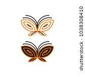 orange and black butterflies... | Shutterstock .eps vector #1038308410