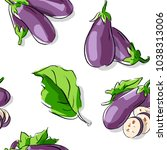 seamless pattern with eggplant... | Shutterstock .eps vector #1038313006