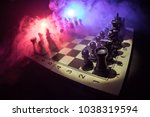 chess board game concept of... | Shutterstock . vector #1038319594