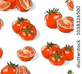 seamless pattern with tomatoes | Shutterstock .eps vector #1038326500