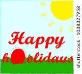 happz easter.holidaz.egg.red... | Shutterstock .eps vector #1038327958