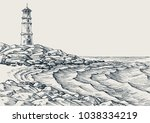 sea shore and sea waves drawing.... | Shutterstock .eps vector #1038334219