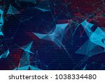 abstract polygonal space low... | Shutterstock . vector #1038334480