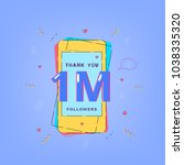 1m followers card. one million... | Shutterstock .eps vector #1038335320