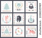 postcards with cute... | Shutterstock .eps vector #1038335989