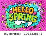 hello  spring word bubble.... | Shutterstock .eps vector #1038338848