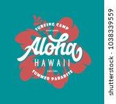 aloha hawaii floral t shirt... | Shutterstock .eps vector #1038339559