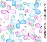 Stock vector seamless pattern with butterfly and flowers on white background vector illustration 1038339970