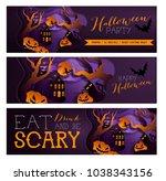 set happy halloween poster ... | Shutterstock . vector #1038343156