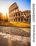 Small photo of Colosseum at sunrise, Rome, Italy