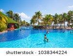 mexico  cancun   february 15 ... | Shutterstock . vector #1038344224