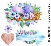 set hand drawn watercolor art... | Shutterstock . vector #1038346366