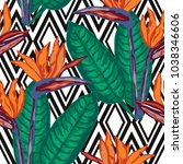 elegant seamless pattern with... | Shutterstock .eps vector #1038346606