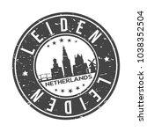 leiden netherlands round stamp... | Shutterstock .eps vector #1038352504