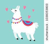 funny llama alpaca in a cartoon ... | Shutterstock .eps vector #1038353803