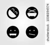 emotions vector icon set. weird ... | Shutterstock .eps vector #1038354574