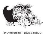 bounty wicker produce heap on... | Shutterstock .eps vector #1038355870