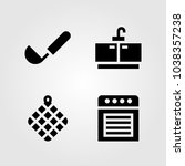 kitchen vector icon set. towel  ... | Shutterstock .eps vector #1038357238