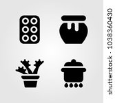 garden icons set. vector... | Shutterstock .eps vector #1038360430