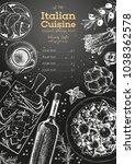 italian cuisine top view frame. ... | Shutterstock .eps vector #1038362578
