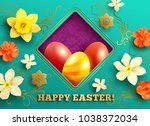 easter greeting card with...   Shutterstock .eps vector #1038372034