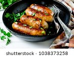 homemade sausages from turkey ... | Shutterstock . vector #1038373258