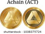set of physical golden coin...   Shutterstock .eps vector #1038375724