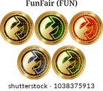 set of physical golden coin... | Shutterstock .eps vector #1038375913