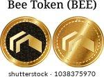 set of physical golden coin bee ...   Shutterstock .eps vector #1038375970