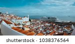 panoramic shot of rooftin the... | Shutterstock . vector #1038376564