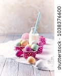 marzipan easter eggs and a milk ... | Shutterstock . vector #1038376600