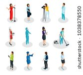 isometric professions set with... | Shutterstock .eps vector #1038378550