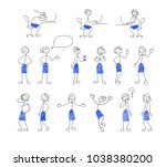 collection of stick figures.... | Shutterstock .eps vector #1038380200