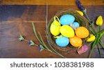 happy easter overhead with...   Shutterstock . vector #1038381988
