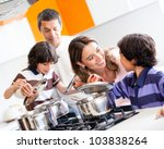 family cooking together in the... | Shutterstock . vector #103838264