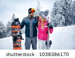 young couple skiing and... | Shutterstock . vector #1038386170