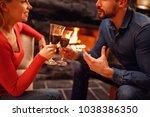 romantic couple in love... | Shutterstock . vector #1038386350