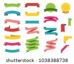 ribbon vector icon set on white ... | Shutterstock .eps vector #1038388738