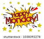 happy monday  sign with comic... | Shutterstock .eps vector #1038392278