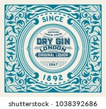 gin label with floral ornaments | Shutterstock .eps vector #1038392686