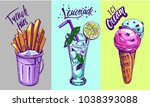 french fries  lemonade  ice... | Shutterstock .eps vector #1038393088