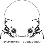 Black and white round frame with floral silhouettes. Copy space. Vector clip art.