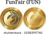 set of physical golden coin... | Shutterstock .eps vector #1038395740