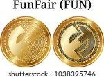 set of physical golden coin... | Shutterstock .eps vector #1038395746
