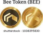 set of physical golden coin bee ...   Shutterstock .eps vector #1038395830
