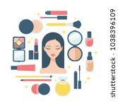 makeup and beauty woman face... | Shutterstock .eps vector #1038396109