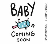 baby coming soon word cartoon... | Shutterstock .eps vector #1038401530